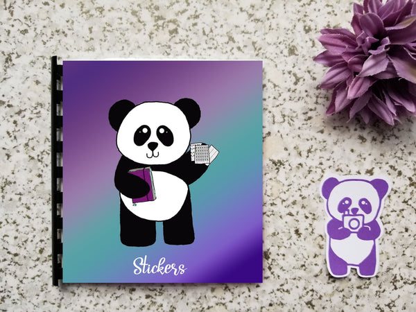 Reusable Sticker Storage Book Album - Purple Teal Ombre Gradient Panda Ready to Plan Hand Drawn Cover