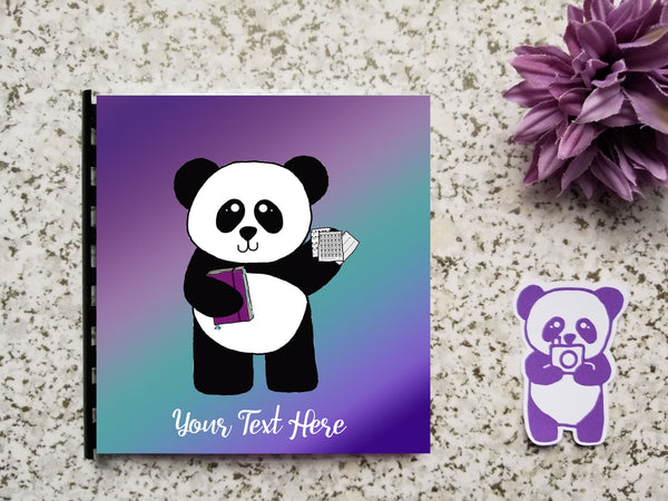 Custom Text Reusable Sticker Storage Book Album - Purple Teal Ombre Gradient Panda Ready to Plan Hand Drawn Cover