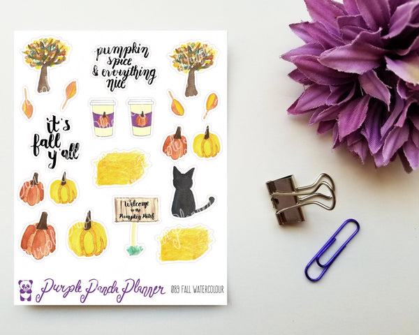 Fall Watercolour Stickers for Planner, Bullet Journal or Scrapbook | 089