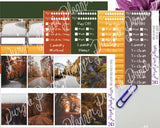 Autumn Roads Weekly Photo Kit for Planner or Bullet Journal, Functional Stickers