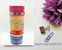 Colourful Quotes Washi Tape SAMPLES with Foil Options