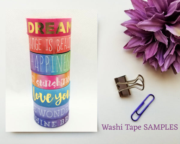 Watercolour Quotes Washi Tape SAMPLES with Foil Options