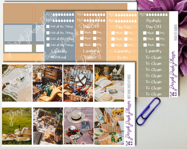 Picnic Weekly Photo Kit for Planner or Bullet Journal, Functional Stickers | K072 73 74