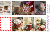 Standard Vertical - Candy Cane Hot Cocoa Weekly Photo Kit for Planner or Bullet Journal, Functional Stickers