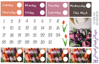 Spring Tulips Date Covers - K142, Stickers for Planner or Bullet Journal Gloss or Matte