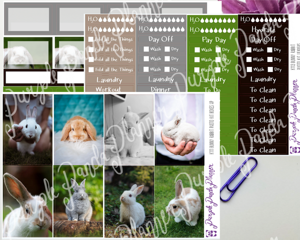 HP Classic - Bunny Rabbit Weekly Photo Kit for Planner or Bullet Journal, Functional Stickers (K111)