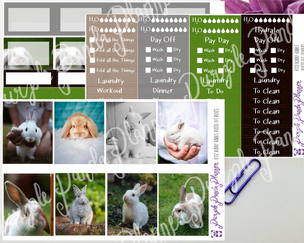 Standard Vertical - Bunny Rabbit Weekly Photo Kit for Planner or Bullet Journal, Functional Stickers | K112