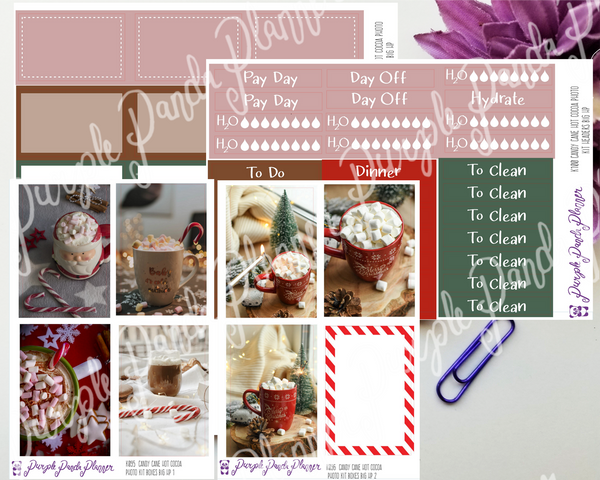 HP Big - Candy Cane Hot Cocoa Weekly Photo Kit for Planner or Bullet Journal, Functional Stickers