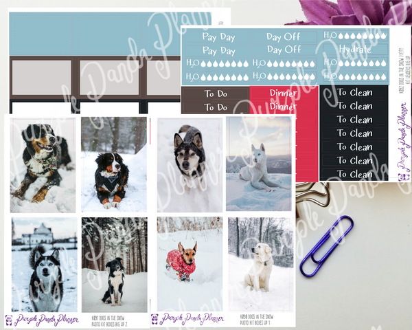 HP Big - Dogs in the Snow Photo Kit for Planner or Bullet Journal, Functional Stickers (K090-93)