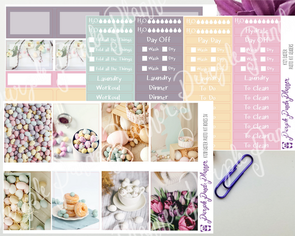 Standard Vertical - Pastel Easter Weekly Photo Kit for Planner or Bullet Journal, Functional Stickers | K112