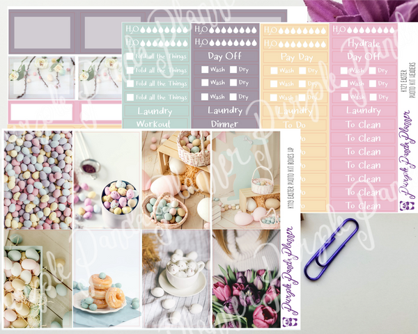 HP Classic - Pastel Easter Weekly Photo Kit for Planner or Bullet Journal, Functional Stickers (K119)