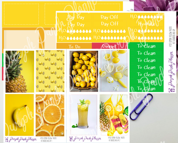 HP Big - Lemon Yellow Weekly Photo Kit for Planner or Bullet Journal, Functional Stickers (k151)