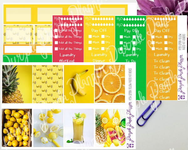 Standard Vertical - Lemon Yellow Weekly Photo Kit for Planner or Bullet Journal, Functional Stickers (K154)