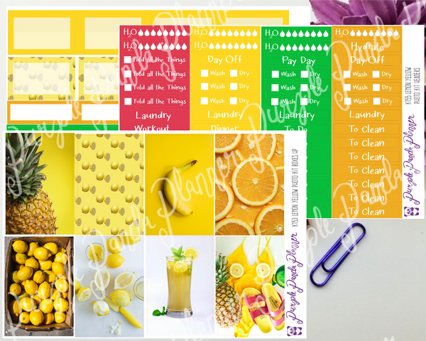 HP Classic - Lemon Yellow Weekly Photo Kit for Planner or Bullet Journal, Functional Stickers (K153)
