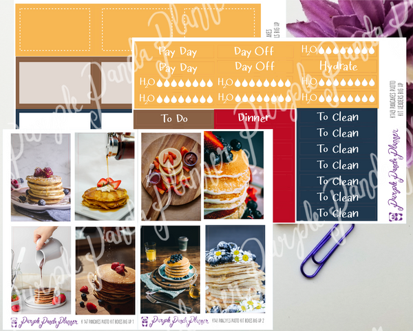 HP Big - Pancakes Weekly Photo Kit for Planner or Bullet Journal, Functional Stickers (k147)