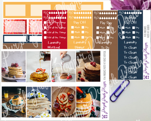 Standard Vertical - Pancakes Weekly Photo Kit for Planner or Bullet Journal, Functional Stickers | K144