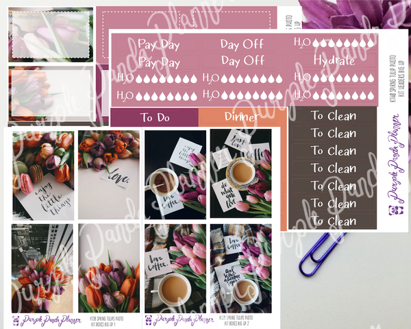 HP Big - Spring Tulips Photo Kit for Planner or Bullet Journal, Functional Stickers (K138)