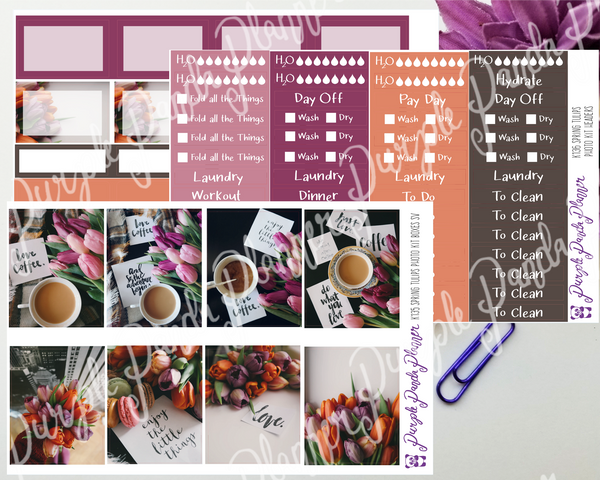 Standard Vertical - Spring Tulips Weekly Photo Kit for Planner or Bullet Journal, Functional Stickers (K135)