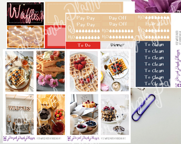 HP Big - Waffles Weekly Photo Kit for Planner or Bullet Journal, Functional Stickers