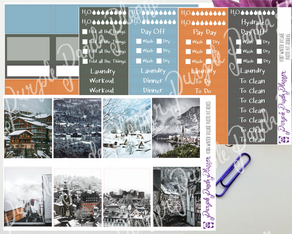 Standard Vertical - Winter Village Weekly Photo Kit for Planner or Bullet Journal, Functional Stickers (K104)