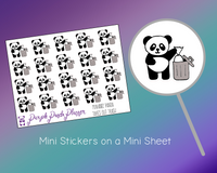 Panda Taking Out Trash Mini002 Planner or Bullet Journal Sticker for Functional Planning