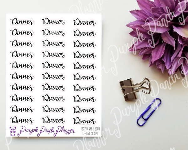 Dinner : Good Feeling Script Stickers for Planner or Bullet Journal T022