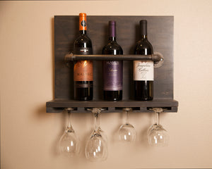 Wall Mounted Wine Rack with Black Industrial Pipe