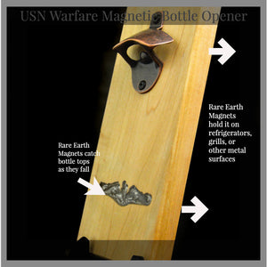 Magnetic Bottle Opener with USN Submarine Dolphins Inlay