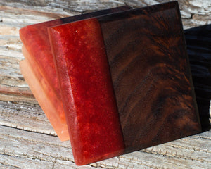 Wood and Resin Coaster Set | Walnut Wood & Epoxy | Merlot and Satin Gold | Modern River Style