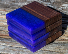 Load image into Gallery viewer, Wood and Resin Coaster Set | Walnut Wood & Epoxy | Purple Haze | Modern River Style