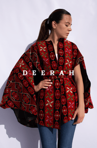 Colorful Slit-Sleeve Embroidered Cape Jacket Deerah
