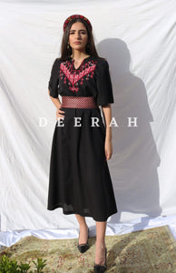 Hand-Embroidered Fallahi Linen Dress in Black Deerah