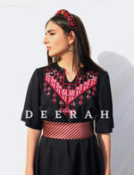 Load image into Gallery viewer, Hand-Embroidered Fallahi Linen Dress in Black Deerah