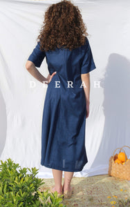 Hand-Embroidered Fallahi Linen Dress in Navy Blue Deerah