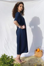 Load image into Gallery viewer, Hand-Embroidered Fallahi Linen Dress in Navy Blue Deerah