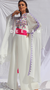 Rand - Hand Embroidered Plisse Bridal Jumpsuit Deerah