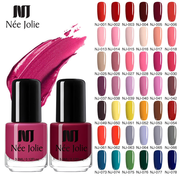 NEE JOLIE 73 Colors Solid Color Nail Art Polish varnish hybrid Long Lasting  Nail Art Decoration Polish Nail 3.5ML