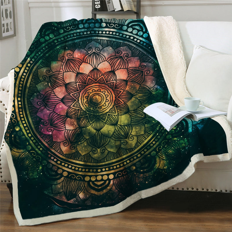 Mandala Sharpa Fleece Throw Blanket - Urban Decor Outlet