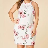 Backless Floral Bodycon Sleeveless Halter Dress