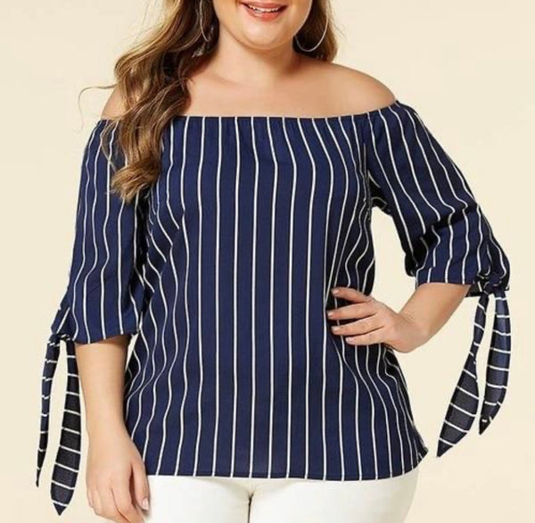 Off The Shoulder Stripe Tie-Up Sleeve Blouse