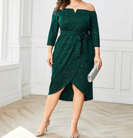Elegant Off The Shoulder 3/4 Sleeve Dress