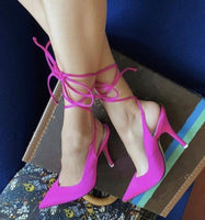 Pointed Toe Strap Up Pumps