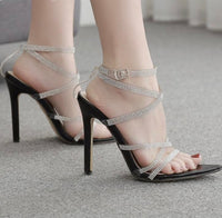 Luxurious Crystal Buckle Strap Sandals