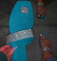 Fashion Rhinestone Flat Slippers