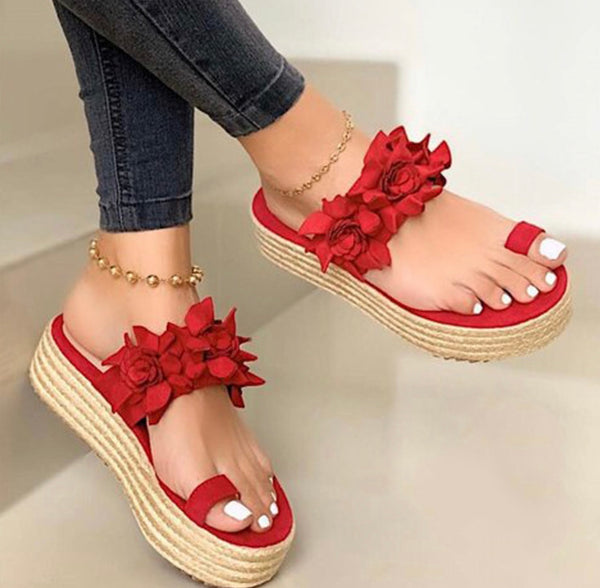 Open Toe Flower Platform Slippers