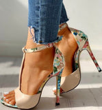 Open Toe Floral Heel Sandals