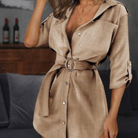 Casual Long Sleeve Buttoned Shirt Mini Dress