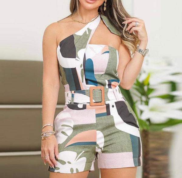 One Shoulder Graphic Print Romper