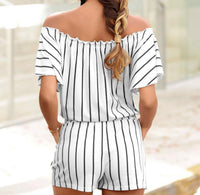 Stripe Off The Shoulder Double Pocket Romper