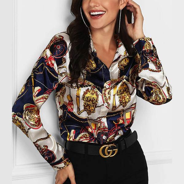 Chain Print Blouse Long Sleeve Blouse